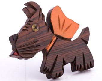 Vintage Elzac Style Wooden Scottie Dog Brooch