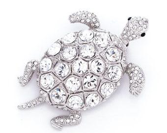 Estate Princess Amanda Borghese Crystal Rhinestone Turtle Brooch