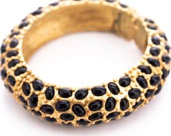 Vintage Kenneth Jay Lane Onyx Cabochon Hinged Statement Bangle Bracelet