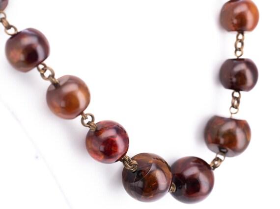 Vintage Stephen Dweck Bronze Amber Resin Beaded Statement Necklace