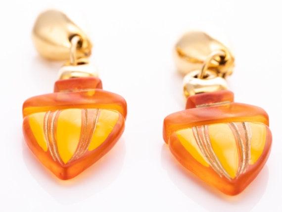 Vintage Claire Deve Resin Statement Clip Earrings - image 7