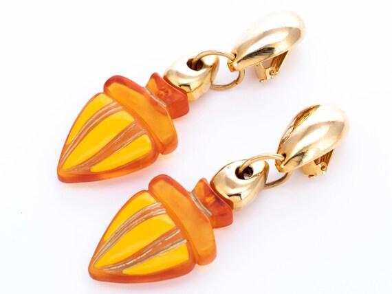 Vintage Claire Deve Resin Statement Clip Earrings - image 1