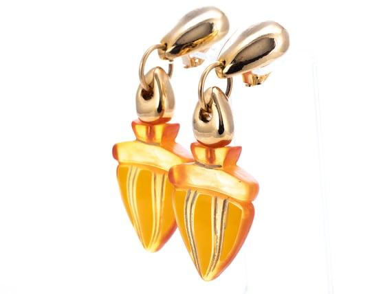 Vintage Claire Deve Resin Statement Clip Earrings - image 4