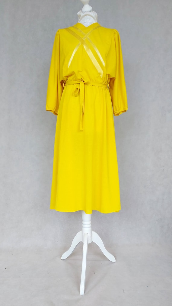 Vintage 1980s Bright Yellow Day Dress, Medium Size