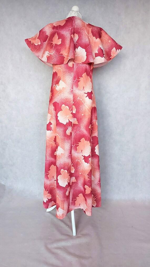 Vintage 70s Floral Cape Dress, Small Size