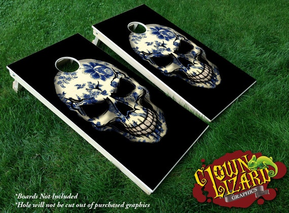 CL0137 Classic Paisley Chintz Fabric Skull Cornhole Laminated Decal Wrap Set Decals Vinyl Sticker