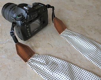 BEST SELLER - Little Dots Scarf Camera Strap, Cross Body Strap, Silver Clasps or Nylon Ends, Customizable Camera Strap