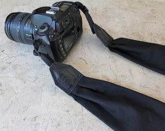 BEST SELLER - Solid Black Scarf Camera Strap, Cross Body Strap, Silver Clasps or Nylon Ends, Customizable Camera Strap