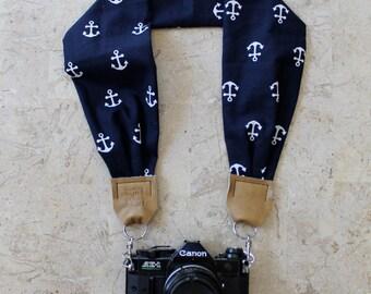 Navy Blue Anchor Scarf Camera Strap