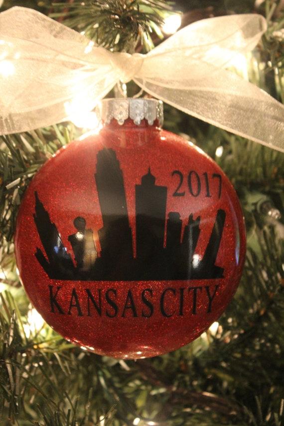 KANSAS CITY Skyline 4 Personalized Glittered Christmas | Etsy
