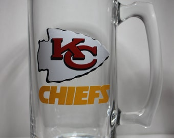 KANSAS CITY CHIEFS Personalized Glass Beer Mug perfect for Father's Day or Birthday Gift