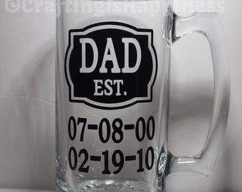DAD ESTABLISHED Kids Birthdates Personalized Glass Beer Mug perfect for Father's Day or Birthday Gift