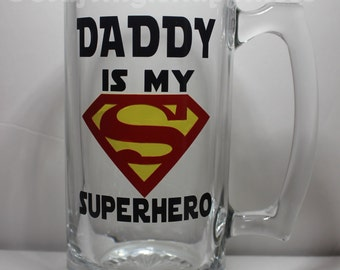 DADDY is my SUPERHERO SUPERMAN Personalized Glass Beer Mug perfect for Father's Day or Birthday Gift