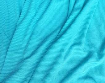 Moisture Wicking 2x2 Rib Knit Fabric T-shirt Loungewear Odor Control Technology Aqua