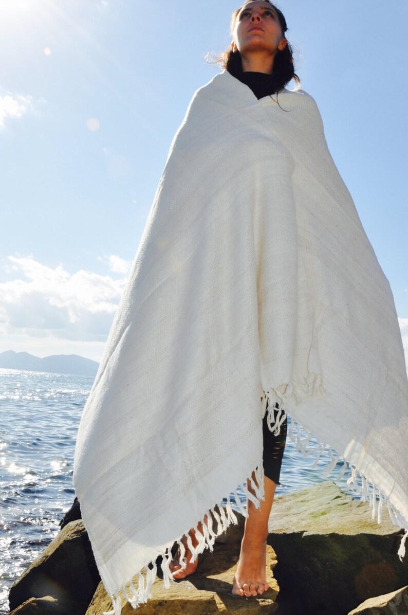 Large Natural white Tussah silk meditation shawl. Non-violent image 0