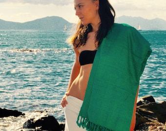 Elegant Green hand woven tussah silk stole,  non-violent ahimsa peace silk