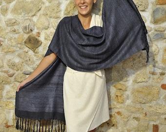 Black Ahimsa silk stole. Non-violent Tussah silk