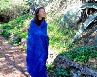 Large Blue Tussah silk meditation shawl. Non-violent Ahimsa silk