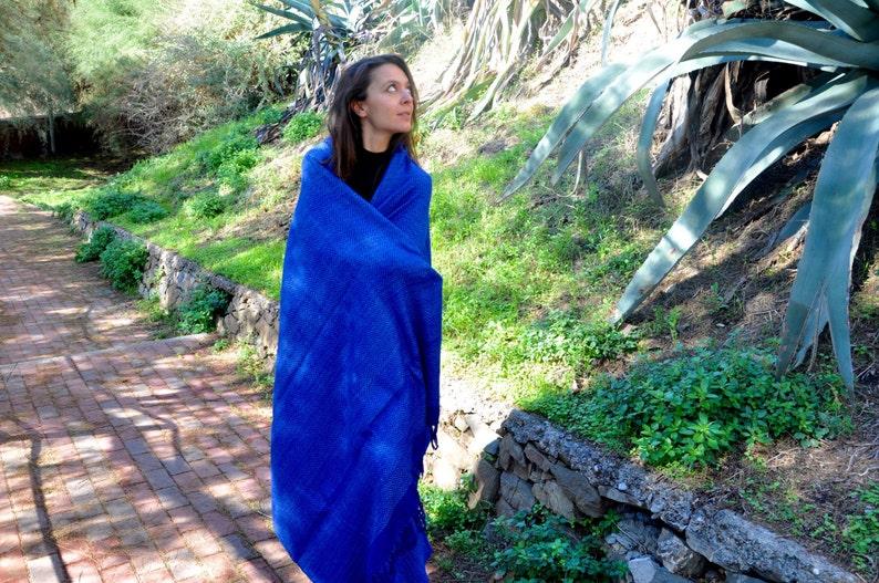 Large Blue Tussah silk meditation shawl. Non-violent Ahimsa image 0