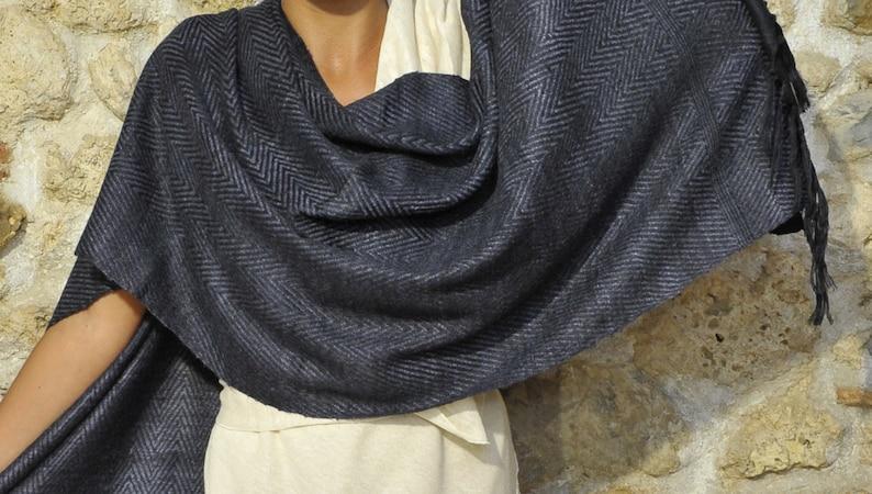 Black Ahimsa silk stole. Non-violent Tussah silk image 0