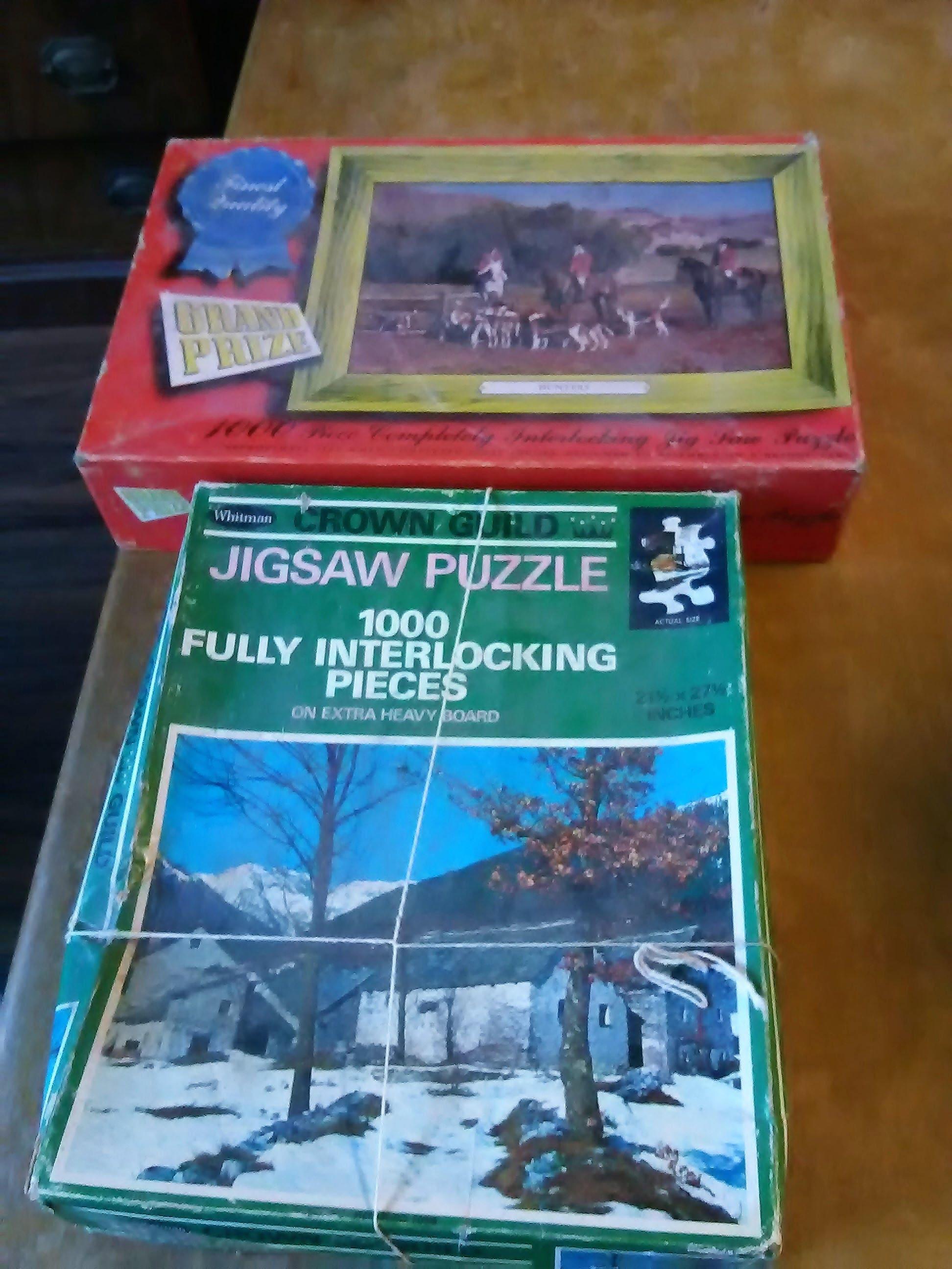 2 vintage jigsaw puzzels 1000 pcs