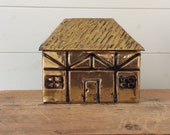 Vintage Tea Caddy Thatched Cottage Linton Brass Caddy Tea Canister English Thatch