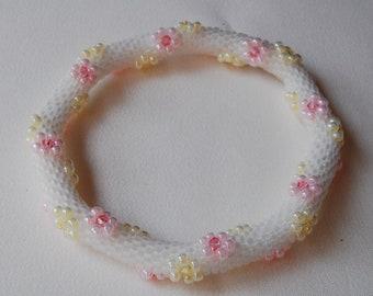 Bead Crochet Bangle: Flowers Traveling Around w/ Swarovski Crystals (32)