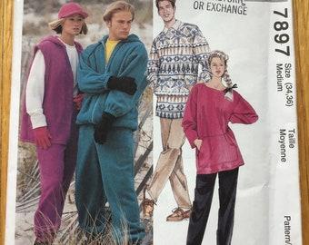 Misses and Men Sweat Suit Pattern UNCUT McCalls 7897 Medium 34 36 Factory Folds