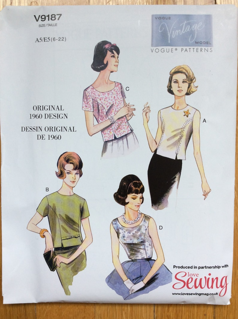 0489f47575d Misses u0027 Jewel or Scoop Neck Top Pattern 1960 Design UNCUT