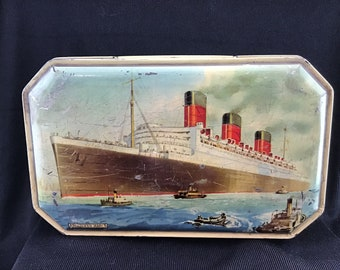 Bensons Toffee Tin Queen Mary English Toffee Favourites Box 1930s 1940s