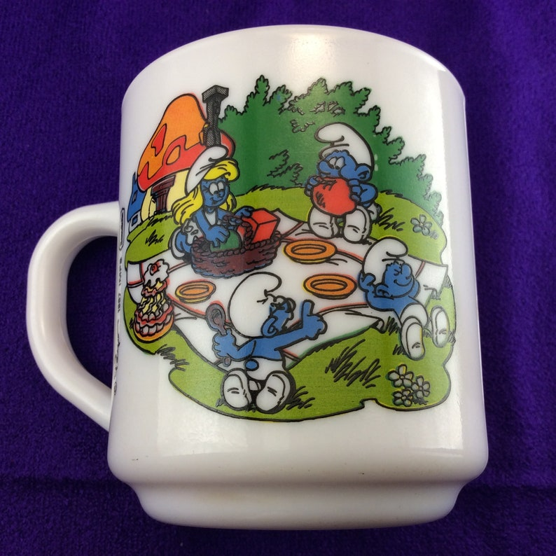 fdbdffe53f Schtroumpf Mug tasse à café pique-nique 1987 | Etsy
