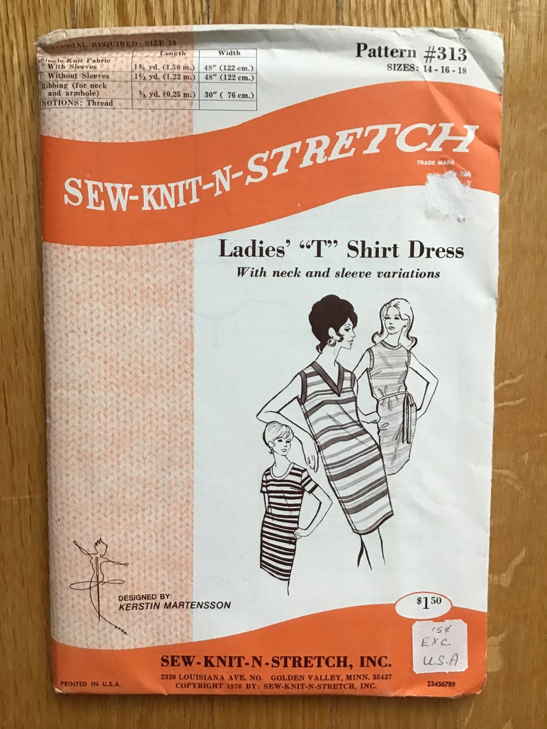 Ladies T Shirt Dress Pattern Sew Knit N Stretch 313 Size 14 16 image 0