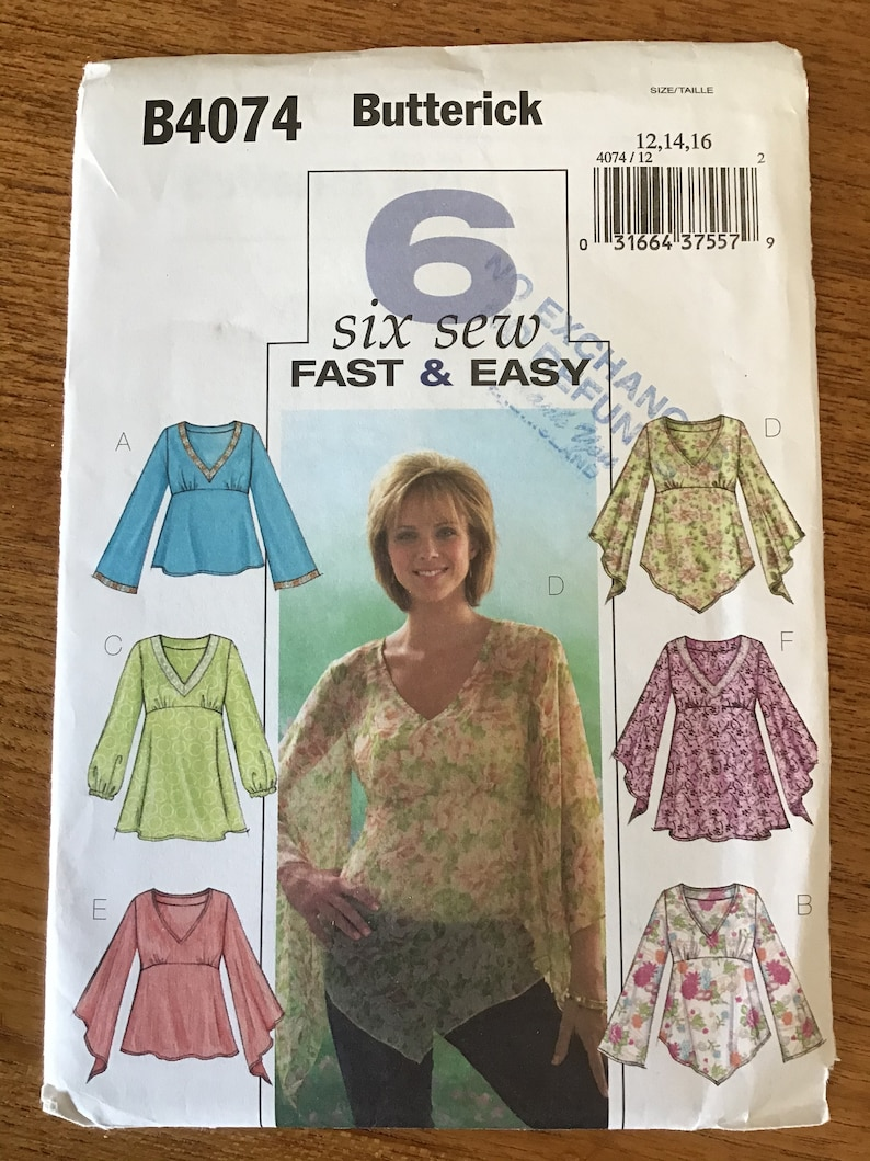 Misses or Petite Top Pattern Size 12 14 16 Butterick 4074 image 0