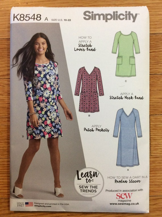 """Simplicity 8548 Misses Knit Dress with Variations /""""Learn To Sew/"""" Sizes 10-22"""