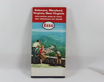 1967 Esso Delaware//Maryland//Virginia//West Virginia Vintage Road Map HUMBLE OIL /&