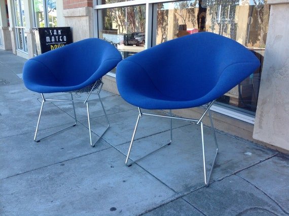 Knoll Bertoia Diamond Chair In Blue Etsy