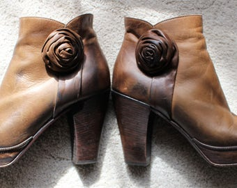 Vintage Anthropologie Sciapo Leather Brown Platform Boots Festival Wear Made in Italy Size 9M