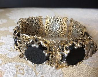 Vintage 1960's Black Gold Panel Link Bracelet