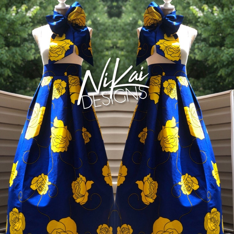 063fd5cec5 Custom Ankara Maxi Skirt Royal Blue Yellow Flower Print Custom | Etsy