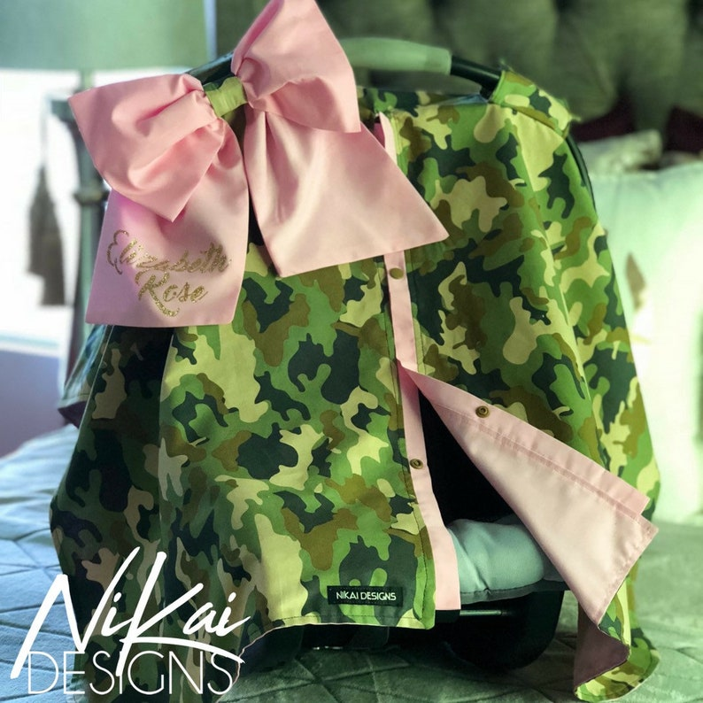 50217463be4 Camouflage and Pink Carseat Canopy Car Seat Cover Blanket Tent