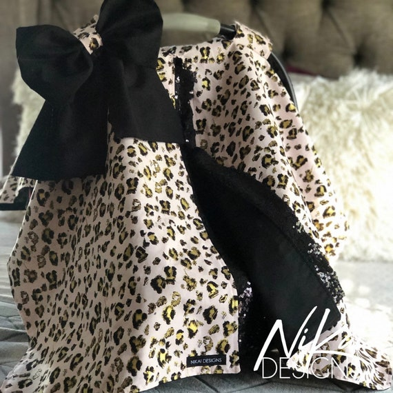 Pink Cheetah Print Carseat Canopy Car Seat Cover Blanket Tent