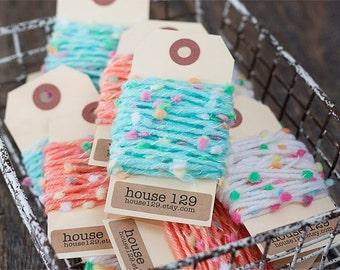 Pom Pom Yarn.  4 Yards Gift Embellishment. Pastel Yarn. Supplies