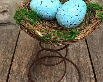 Blue Egg, Bird Nest, Wire Spring, Hand-painted Robin Egg, Easter, Spring, Farmhouse, Country Rustic