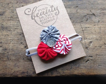 TRIPLE ROSETTE - red, gray, stripes, polka dots, newborn, girl,  fabric, yo yo, flower, rosette, headband, hair clip