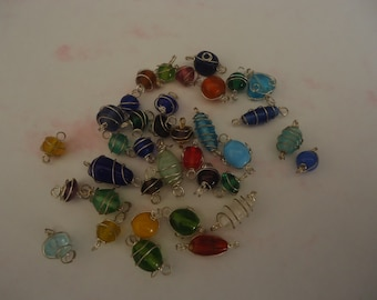 GJ-1267 Wire Wrapped Beads Connectors Lime Cats-Eye Gemstone Connector DIY Component Connectors Pendant Findings Tube Shape Connectors