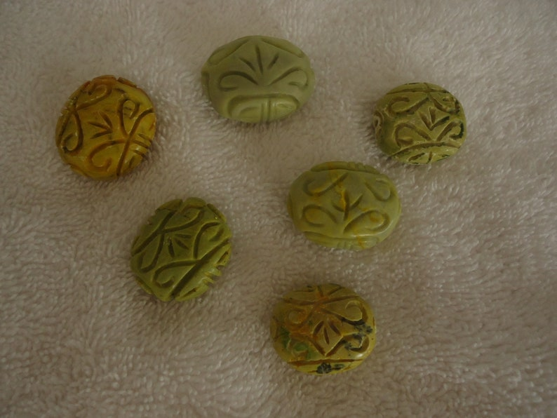 GB-52 Lot of 6 Carved Oval YellowGreen Marble Focal Beads