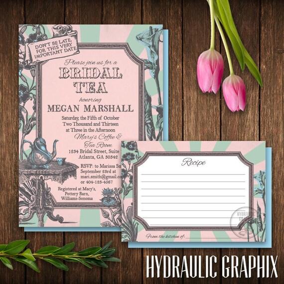 Alice In Wonderland Bridal Shower Invitation And Recipe Card