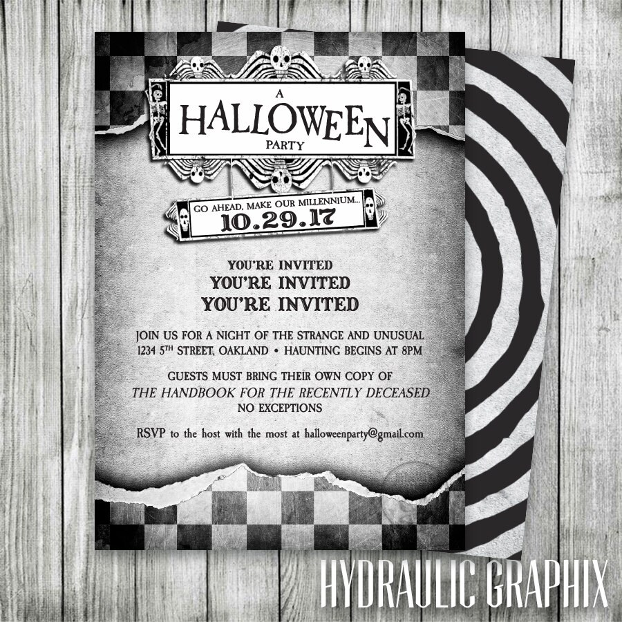 Halloween Party Invitation Haunted Mansion Invite Black and | Etsy