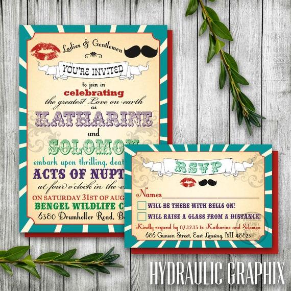 Vintage Printable Carnival Wedding Invitation And Rsvp Card Etsy