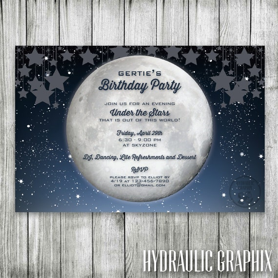 starry night birthday invitation galaxy invite under the stars